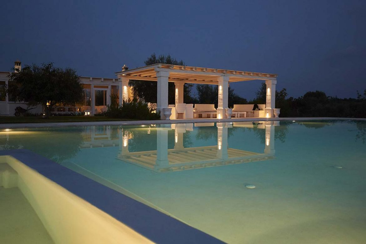 Evening view of the Almadava farm swimming pool