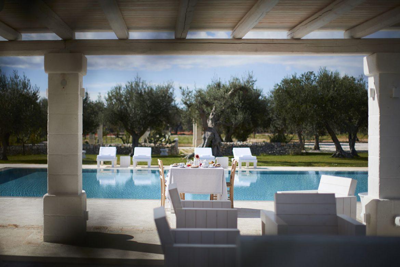 Colazione bordo piscina Masseria Almadava